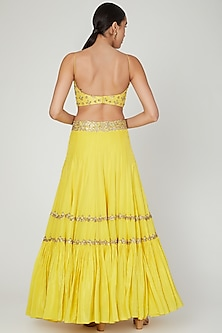 Yellow Embroidered Lehenga Set by Izzumi Mehta