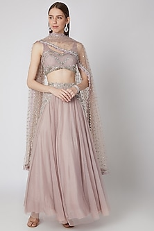 Lilac Nude Embroidered Lehenga Set by Izzumi Mehta