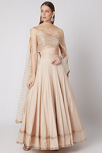 Cocoa Cream Embellished Lehenga Set by Izzumi Mehta