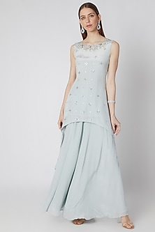 Icy Blue Embroidered Tunic With Palazzo Pants by Izzumi Mehta