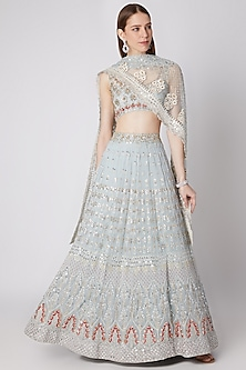 Icy Blue Embroidered Lehenga Set by Izzumi Mehta