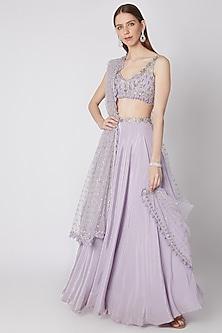 Light Purple Embellished Lehenga Set by Izzumi Mehta
