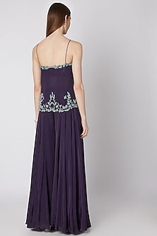 Aubergine Purple Embellished Top With Palazzo Pants by Izzumi Mehta