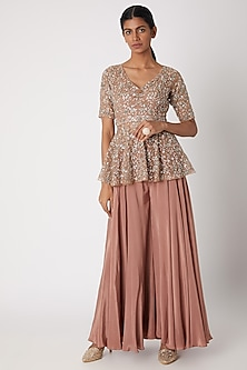 Mauve Embroidered Peplum Top With Palazzo Pants by Izzumi Mehta