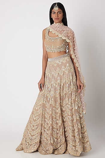 Beige Embroidered Lehenga Set by Izzumi Mehta