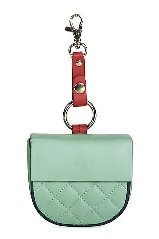 Mint Green & Blue Leather Batua With Belt by Immri