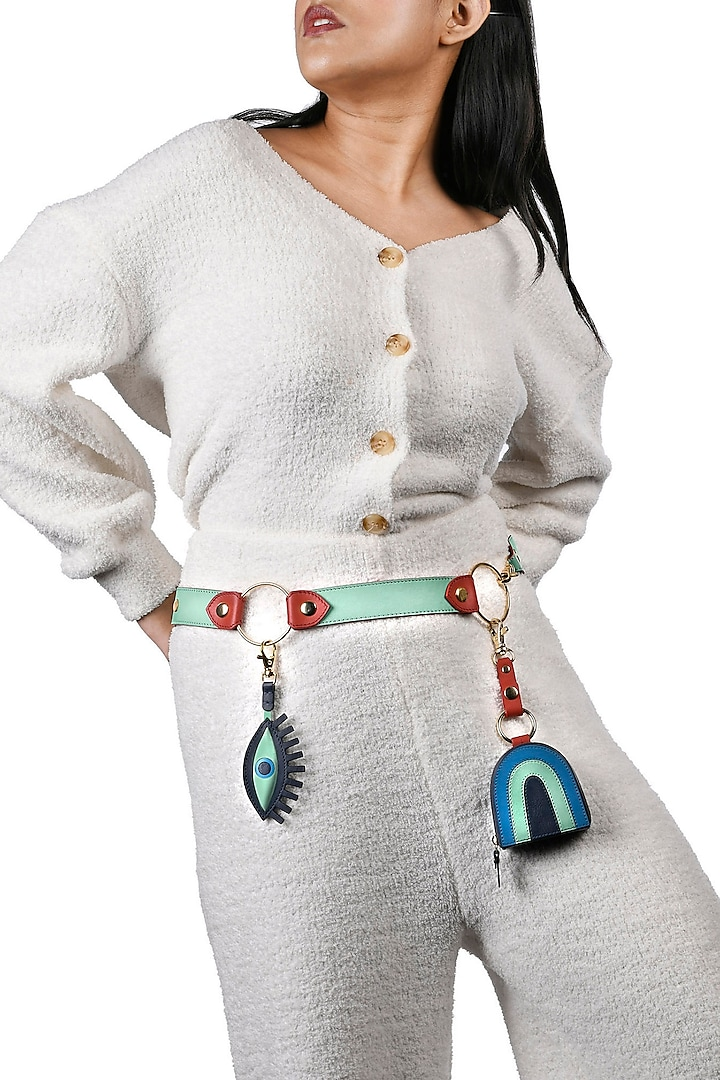Mint Green & Blue Leather Belt With Evil Eye Charm by Immri