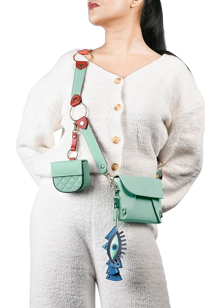 Mint Green & Blue Leather Fold Bag With Belt by Immri