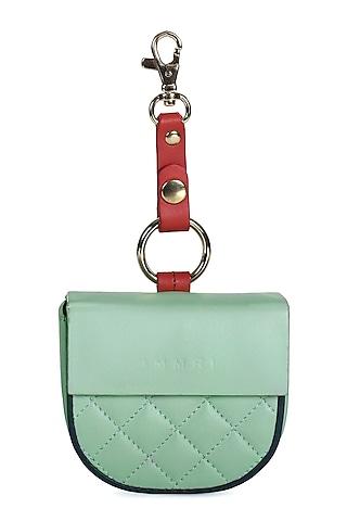 Mint Green Leather Batua With Belt by Immri