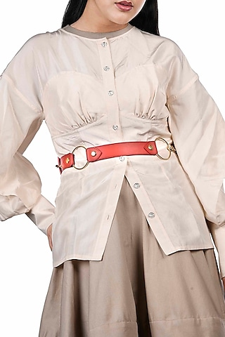 Red & Burgundy Reversible Waist Belt by Immri