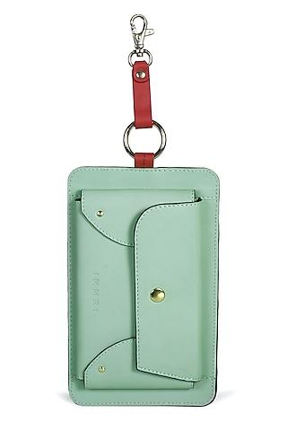 Mint Green & Red Genuine Leather Mini Bag by Immri