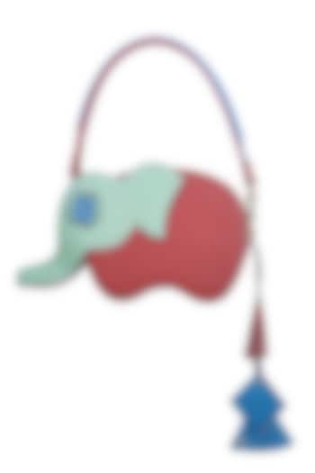 Red & Mint Green Handcrafted Hathi Mini Bag by Immri