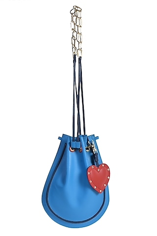 Blue Potli With Red Heart Charm by Immri