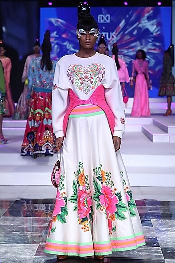 White Taffeta Printed Skirt by Manish Arora
