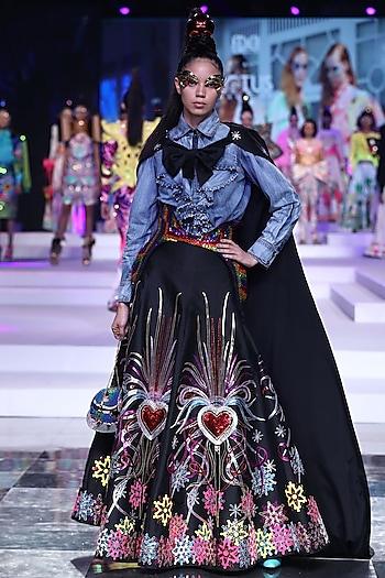 Black Heart Embroidered Skirt by Manish Arora
