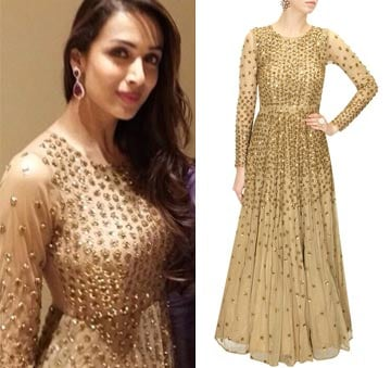 Dark nude sequins embellished gown by Astha Narang