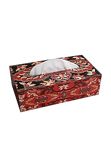 Multicolor Wooden Ishaan Tissue Box by Karo