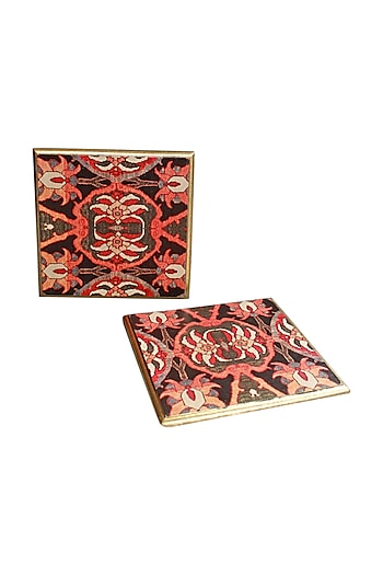Multicolor Wooden Ishaan Trivets (Set of 2) by Karo