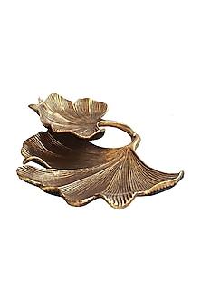 Golden Aluminium Gingko Double Leaf Platter by Karo