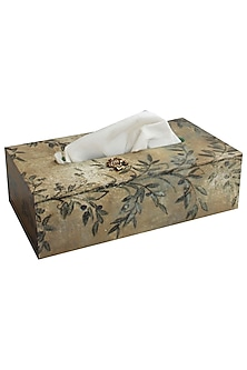 Multicolor Wooden & Brass Bee Tissue Box by Karo