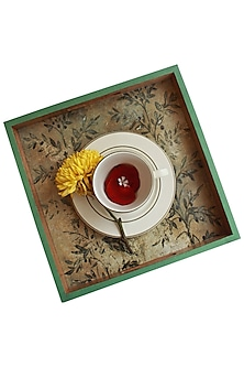 Multicolor Wooden & Brass Bee Serving Tray (Set of 2) by Karo