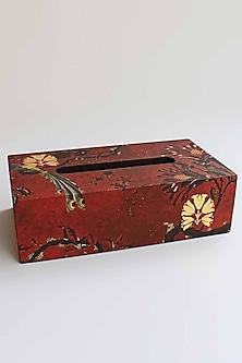 Maroon Gulbagh Tissue Box by Karo