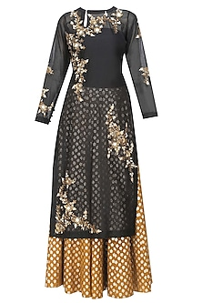 Black Floral Embroidered Kurta and Gold Brocade Skirt with Golden Scarf by Joy Mitra