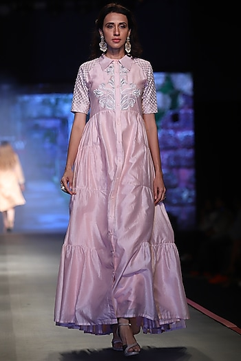 Pink Embroidered Tier Dress by Samant Chauhan