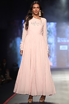 Pink Embroidered Angrakha Dress by Samant Chauhan