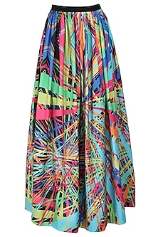 Multicoloured rays printed polaris gathered full skirt by Urvashi Joneja