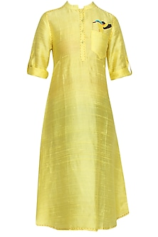 Yellow Kingfisher Kurta by Surendri by Yogesh Chaudhary