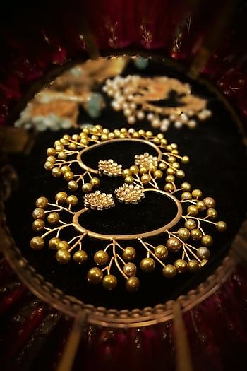 Gold Finish Zircon & Pearl Ear Cuffs by Tarun Tahiliani