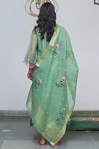 Sea Green Machine Embroidered Kurta Set by Begum Pret