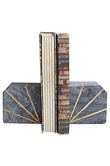 Grey Marble & Brass Inlay Bookends (Set of 2) by Karo