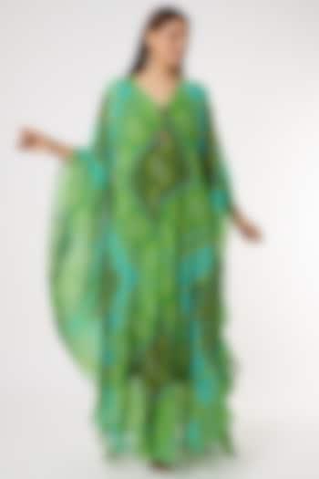 Mint Green & Yellow Bandhani Printed Kaftan Set by Inara Jaipur