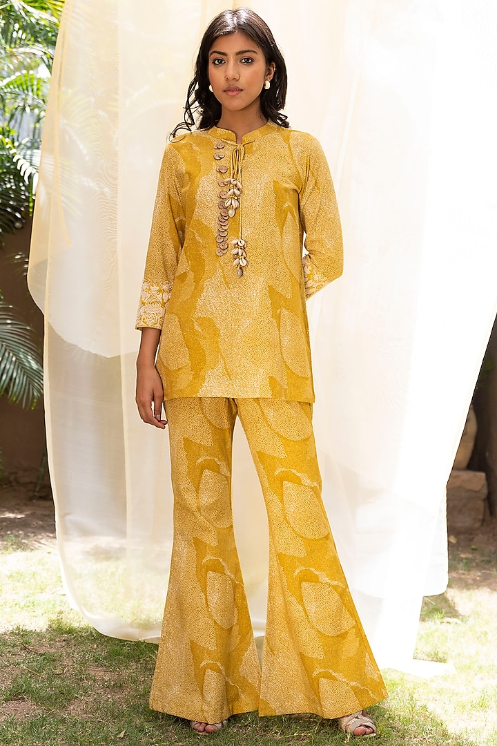Mustard Aari Embroidered Co-Ord Set by Inej