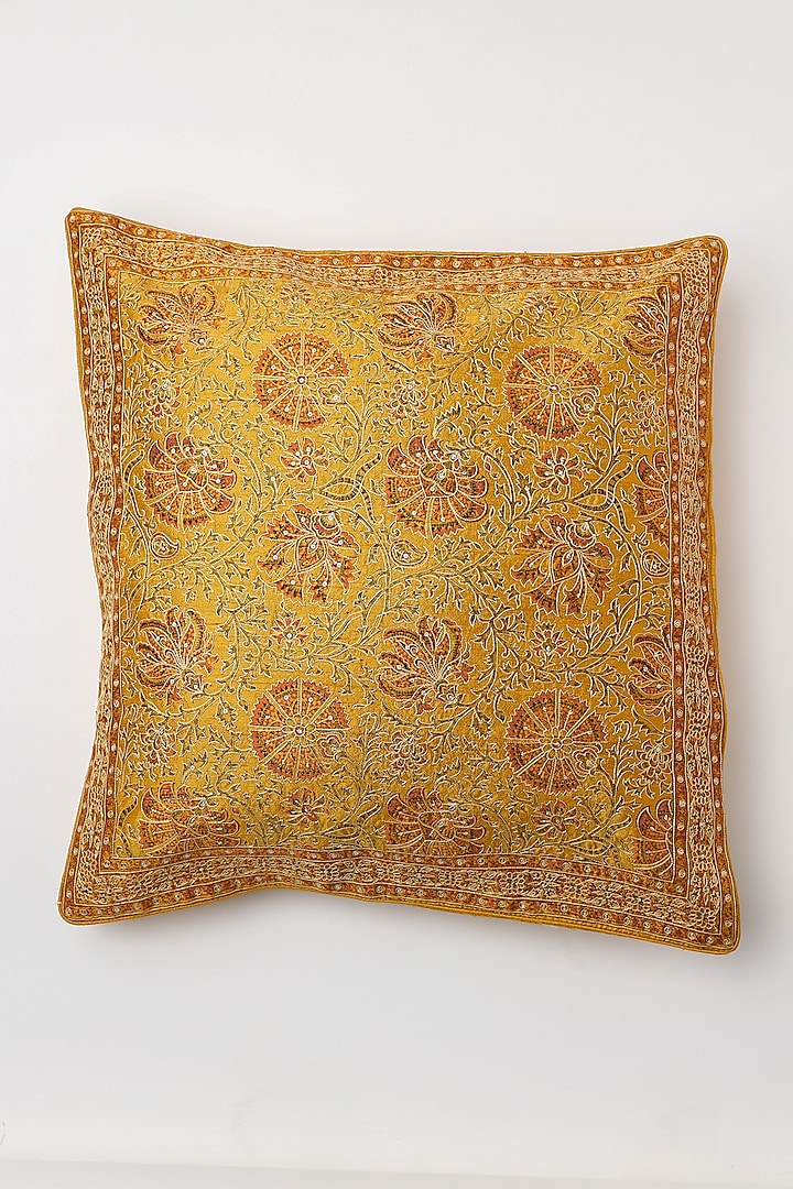 Yellow Hand Embroidered Cushion Cover by Inheritance India