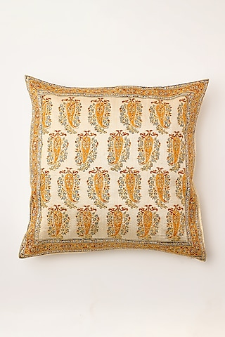 White Hand Embroidered Cushion Cover by Inheritance India