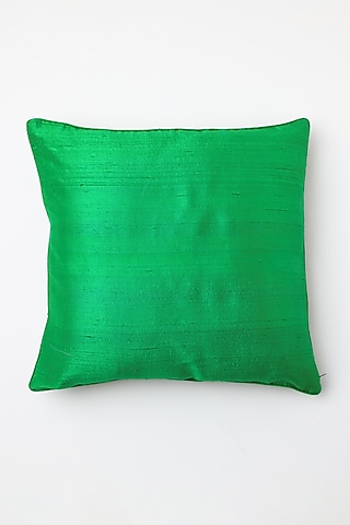 Green Hand Block Printed Cushion Cover by Inheritance India