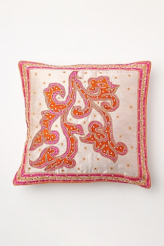 White Hand Block Printed Cushion Cover by Inheritance India