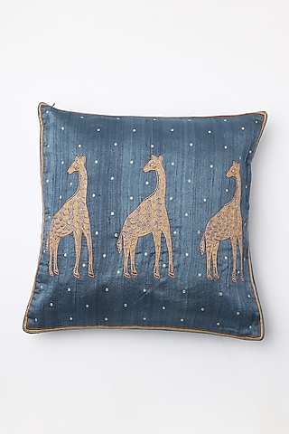 Blue Printed Cushion Cover by Inheritance India