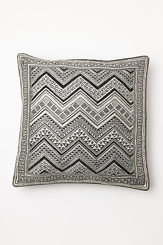 White Printed Cushion Cover by Inheritance India