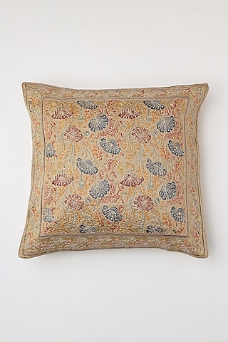 Beige Hand Block Printed Cushion Cover by Inheritance India