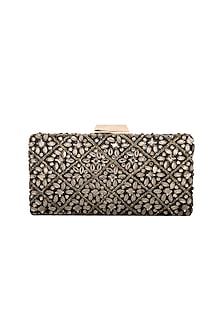 Black Embellished Box Clutch by Inayat