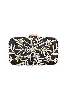 Black Mirror Embellished Box Clutch by Inayat