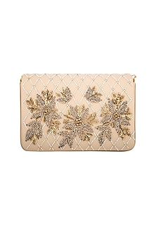 Golden Cutdana Flapover Clutch by Inayat