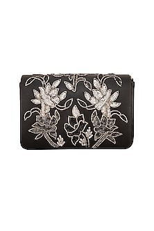 Black Sequins Flapover Clutch by Inayat