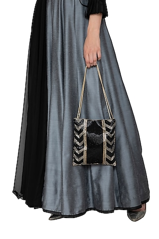 Black Embroidered Potli Bag by Inayat