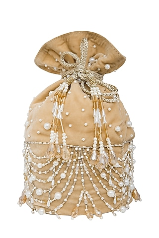 Beige Gold Embroidered Potli Bag by Inayat