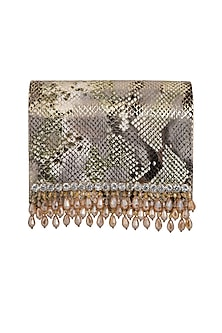 Multi Colored Embroidered Flapover Clutch by Inayat